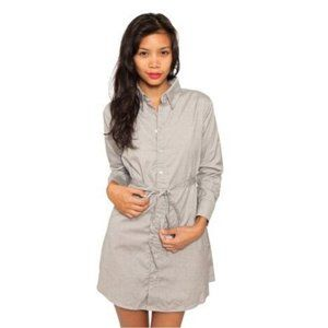 American Apparel Oxford Tie Waist Gray Shirt Dress